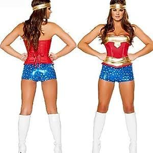 Deluxe Wonder Woman Oro Blue Poliestere Costume Halloween Partito