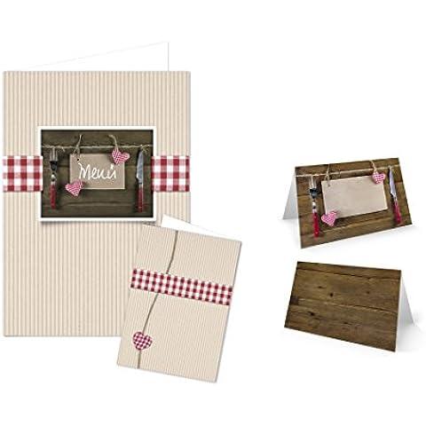 Da 44Pezzi Set con tavolo carte (32pezzi) e menu. (12pezzi) per 30–ospite, beige, rosso e bianco a quadretti con cuori in stile rustico stile rustico, 1a qualità