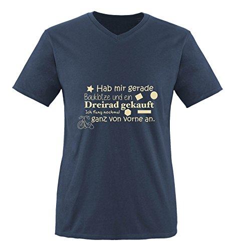 Comedy Shirts - Hab mir gerade Bauklötze und ein Dreirad gekauft... - Herren V-Neck T-Shirt - Navy / Beige Gr. L