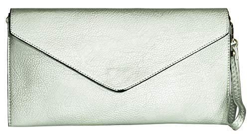 Big Handbag Shop Damen Clutch, aus veganem Leder, Umschlag, metallic silver - Größe: Einheitsgröße - Vegan Leder Clutch