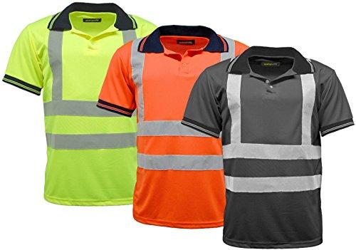 Herren Polo Shirts HI VIS VIZ Sichtbarkeit Short Sleeve Sicherheit Workwear Shirt Gelb