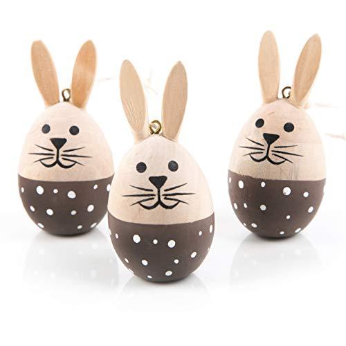 Logbuch-verlag - ciondolo a forma di coniglietto pasquale, da appendere, in legno, 7,5 cm, a pois, colore: marrone