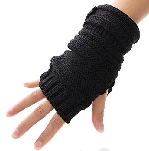 Stofirst Unisex Winter Warm Punk Stil Häkeln Stricken Fingerlose Handschuhe Fäustlinge mit Holzknopf Halbe Finger Handschuhe Handwärmer Wrist Warmers (Handgelenk-handschuh Stricken Palm,)