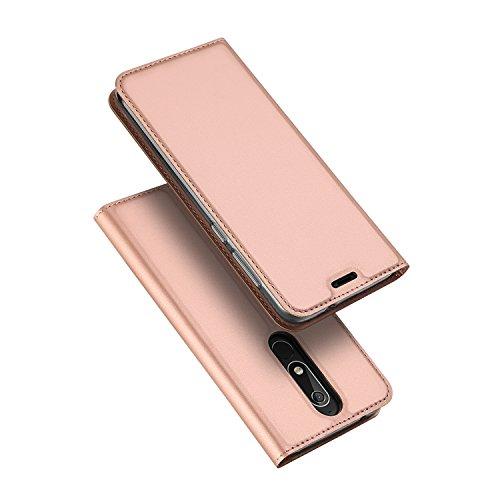 DUX DUCIS Nokia 5.1 Hülle,Flip Folio Handyhülle,Magnet,Standfunktion,1 Kartenfach,Ultra Dünn Schutzhülle für Nokia 5.1 (Rose Golden)