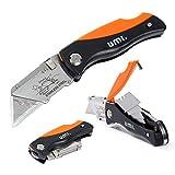 UMI Essentials Klappbares Universalmesser, Schnellwechselklinge, Verriegelungsmechanismus, mit Klingenaufbewahrung und Gürtelclip