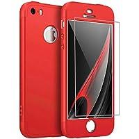iPhone 5/5S/SE Hülle 360°Handyhülle PC Hartschale Shell Schutzhülle Anti-Schock Anti-Kratz Stoßfänger 360 Grad Cover Case Matte Schutzkasten(Rot)+Gehärteter Glasfilm