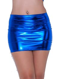 5a59cce1e7 S140 Metallic Blue Foil Lycra Fantasystore Branded Micro Mini Skirt (12-13  Inch length