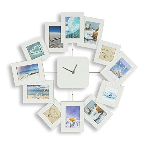 levandeo Wanduhr B x H x T: 40,5x42,5x2,5cm Weiß Bilderrahmen Foto-Uhr 12 Fotos Fotogalerie Collage