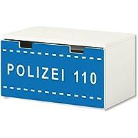Preisvergleich für Stikkipix Polizei Möbelfolie | BT37 | Möbelaufkleber mit Polizei-Motiv | passend für die Kinderzimmer Banktruhe STUVA von IKEA (90 x 50 cm) | Möbel Nicht Inklusive