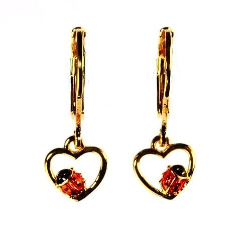Krsnasworld® Boucles d'Oreille Enfant - 22 carats dore - Hoop Coeur avec la coccinelle (effet de coup de marteau)