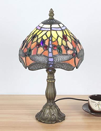 8-Zoll-europäischen Vintage-Stil Glasmalerei Orange Libelle und Perle Warm Farbige Serie Tischlampe Schreibtischlampe Nachttischlampe