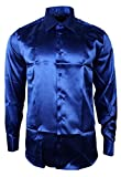 Herrenhemd Italienisch Blau Seide Satin Formell