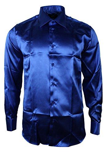 Herrenhemd Italienisch Blau Seide Satin Formell (Italienische Hemden Aus Seide)