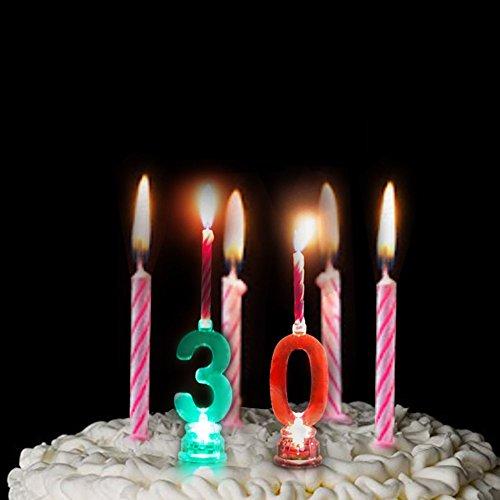 LED-Elektronische Kerze, mehrfarbig, blinkend, Zahl 0-9 - Geburtstag, Weihnachten, Erntedankfest, für Zuhause, Kinderzimmer, Dekoration Art Deco 30