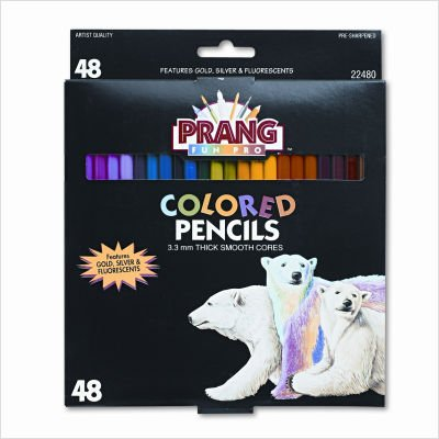 Prang Colored Pencils, 3.3MM Regular Core, 7-Inch Long, 48 Color Set DIX22480 by Prang