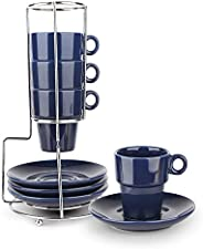 Espresso Cups and Saucers Set of 4 with Stand Rack,9-piece Porcelain Stackable Espresso Mugs, 3.3oz(95ml) Demi