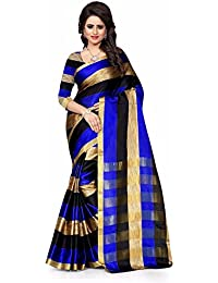 New Collection Fancy And Regular Casual Wear Women Cotton Silk Blue & Gold Color Saree In Low Price By Macube