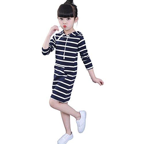 Longra Kinder Mädchen Herbst Kleidung Langarm T-Shirt-Kleid mit Hoodie Gestreiften Pullovershirt Kleid Kinder Casual Kleid mit Kapuze (2-6 Jahre) (130CM 4Jahre, Navy)