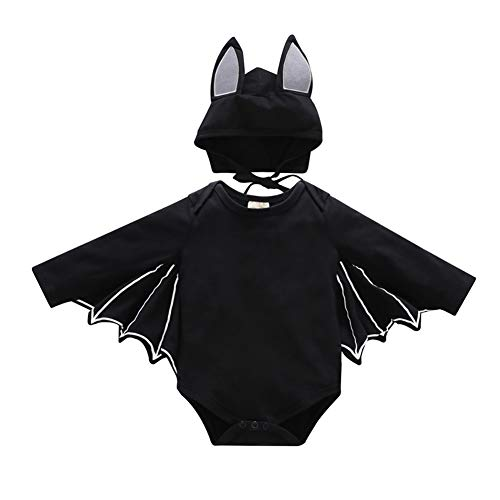 Baby Halloween Kostüm Schläger 2-TLG. Kleidung Set Netter Strampler Romper Jumpsuit mit Schläger Ohr-Hut (Größe 80)