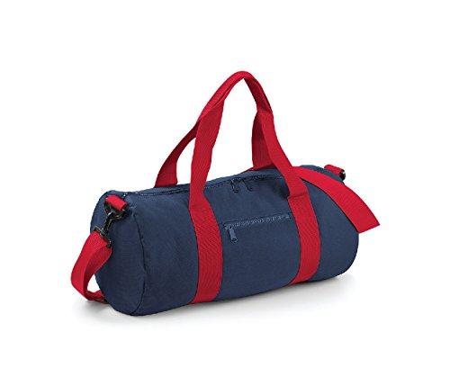 Bag Base - Sac de voyage en toile 20 L - BG140 - VARSITY BARREL BAG - Coloris bleu marine et rouge