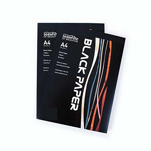 50 Blatt A4 Schwarz Papier Pad - 140 gsm - Geeignet für Zeichnen mit Bleistiften, Pastellkreide, Zuversichtlich,, Collage, Fotos etc. - Made in UK -