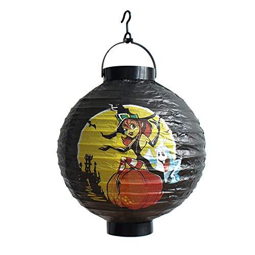 TIREOW LED Papier Halloween Hängende Laterne Fledermaus Spinne Kürbis Licht Party Dekor Lampe (B)
