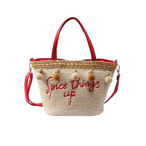 LANGUANGLIN Kleine Tasche Weibliche Wilde Messenger Schulter Schulter Stroh Eimer Tasche Mädchen Kleine Tasche Strandtasche,Red -