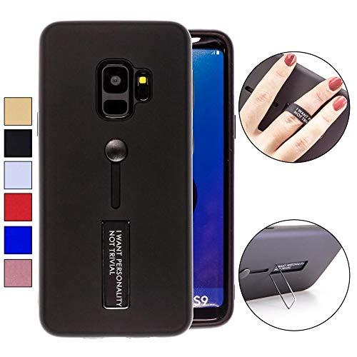 COOVY® Cover für Samsung Galaxy S9 SM-G960F / SM-G960F/DS Bumper Case, Doppelschicht aus Plastik + TPU-Silikon mit Halteschlaufe, Standfunktion | Farbe schwarz -