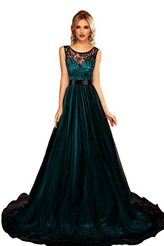 LETS SHOPPING Escarpada del cordón del O-Cuello del partido de malla de superposición Reina del Verano del vestido maxi ((US 8-10)M, Azul)