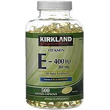 Kirkland Vitamina E-400 IU de dl- alfa tocoferol 268 mg 500 Cápsulas Softgel
