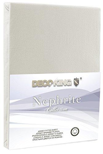 DecoKing 18668 80x200-90x200 cm Spannbettlaken Ecru 100% Baumwolle Jersey Boxspringbett Spannbetttuch Bettlaken Betttuch Ivory Nephrite Collection - 2