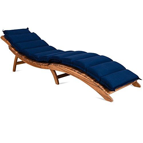 Coussin pour chaises longues rembourré 7 cm épaisseur avec lanières - Bleu
