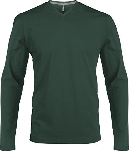 Langarm T-Shirt mit V-Ausschnitt Forest Green