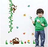 HAJKSDS Wandtattoos Wandbilder Cartoon Schlafende Affen Höhe Maßnahme Wandaufkleber Für Kinderzimmer Baum Vögel Blume Schmetterling Messlatte Kindergarten Wohnkultur