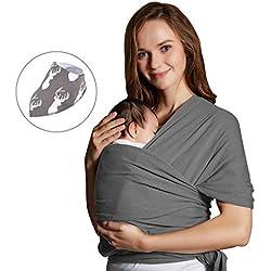 Porte-bébé Écharpe,Yosemy Coton Elastique Echarpe de Portage Sans Nœud,Porte-bébé de Haute Qualité Pour Nouveau-nés et Bébés Jusqu'à 15 kg,Gris