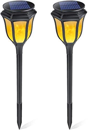 ZGYQGOO Outdoor Solar Flamme Lichter 96 LED wasserdicht drahtlose blinkende Beleuchtung Landschaft Sicherheit Weg Lichter automatische EIN/Aus Rasen Intercalation Wandleuchte schwarz -