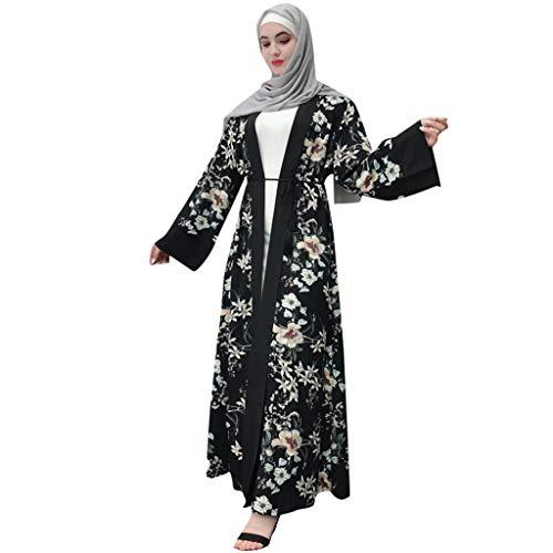 TEBAISE Muslim Kimono Damen Muslimische Blume Stickerei Abaya Lange Roben Lose Strickjacke Maxi Kleid Beiläufig Kaftan Tunika Mittlerer Osten Arabisch Ramadan Gebet Islamische Kleidung