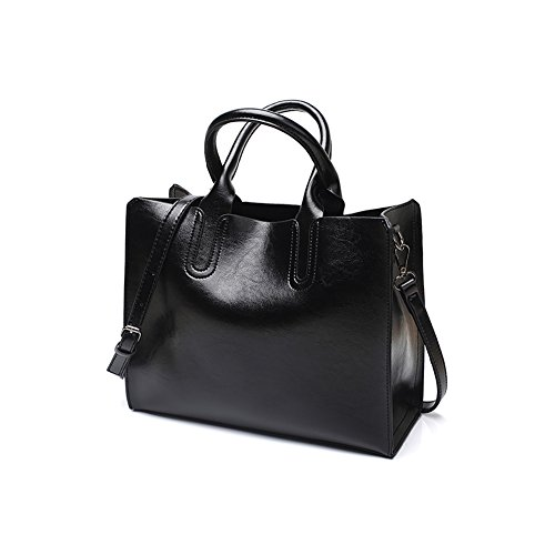 - 41UIOL 2BIlkL - VECHOO Fashion Oil Wax Leather Handbag, Ladies Handbags, Girls Satchel, Elegant Top-Handle Bag, Vintage Shoulder Bag with Shoulder Strap