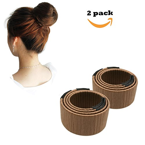 Qorol Women Hair Bun Maker Hairdisk Beauty Donut Bun Maker Former Foam French Twist Hairstyle Clip Tool(Light Coffee)