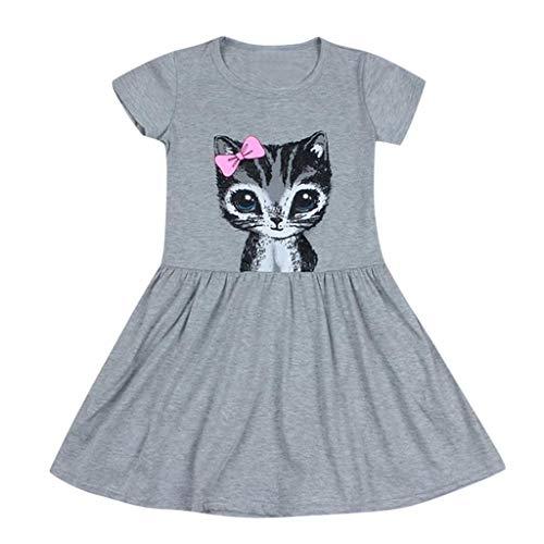 DIASTR Kinderbekleidung für Mädchen,Kleider Kinder Kurzarm Bowknot Katze Cartoon Print Kleid Outfits(1~6jahre Alt)