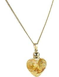 St. Leonhard Glas-Herzanhänger mit 23K-Blattgold inkl. vergoldeter Kette