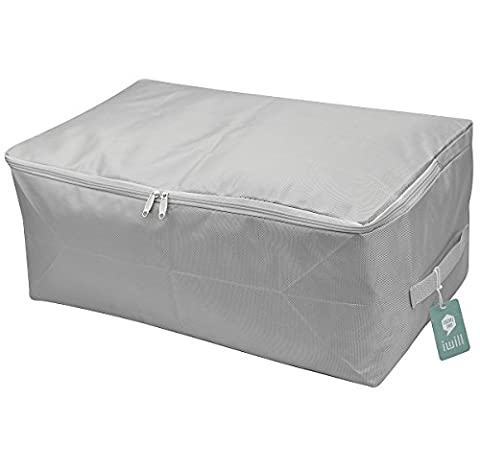 Thick Oxford Fabric Clothes Storage Bag, Folding Organizer Bag for Comforters, Blanket, Clothes Storage. Waterproof, Dust proof, Moisture proof with Zipper and Handles (Light Grey,