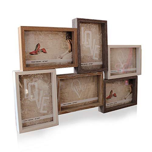 Tea Light 6pcs Photo Frame Value Set, feine und Glatte Linien, hoch transluzente Plexiglas verbunden Holz Fotorahmen, Bilderrahmen Wall Art Gallery Kit für Home Room Decor, sechs 7 x 5 in, geeignet