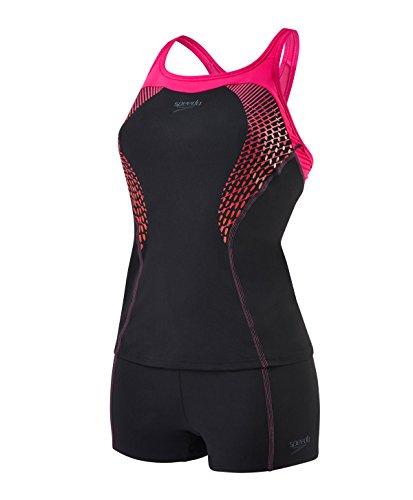 speedo-womens-fit-tankini-kickback-swimsuit-black-electric-pink-lava-red-size-30