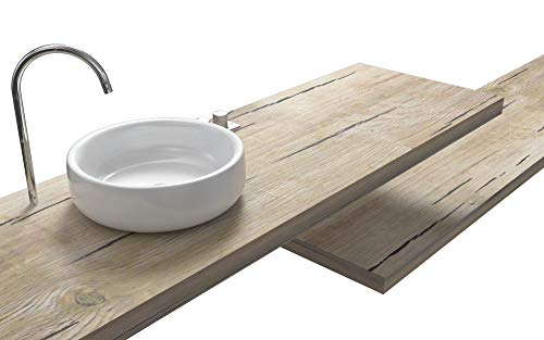 Ve.ca-italy mensole lavabo shabby chic - quercia sherwood su misura 100% made in italy resistenti all'acqua incluse staffe a scomparsa (160x50x8 cm, quercia sherwood)