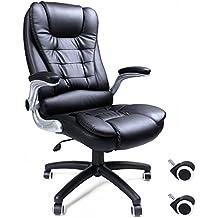songmics silla giratoria de oficina silla de escritorio racing negro de pu ajustable obgb