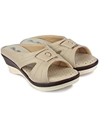 Big Bird Cream Colored Dotted Soft Sole Wedge Heels Comfortable & Stylish Soft Sole Slippers For Womens | Girls...