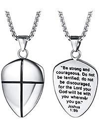 FaithHeart Escudo Medalla Milagrosa Joyería de Acero Inoxidable para Hombre y Mujer