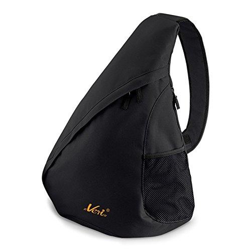 Messenger Crossbody Hipster Bag (Moderner Messenger Dreieck-Rucksack, Umhängetasche, Body Bag, Crossover Sling Bag Farbe: Schwarz - Mit Veri ® Logo)