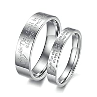 Stainless Steel 2Pcs Cupid's Arrow Heart His and Hers Wedding Ring Sets Silver Women Size L 1/2 & Men Size N 1/2